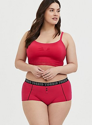 Torrid Logo Crimson Red Cotton Boyshort Panty, HOT PINK, alternate