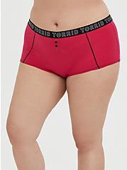 Torrid Logo Crimson Red Cotton Boyshort Panty, HOT PINK, hi-res