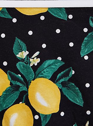 Plus Size Torrid Logo Polka Dot Lemon Cotton Thong Panty, SWEET LEMONS, alternate