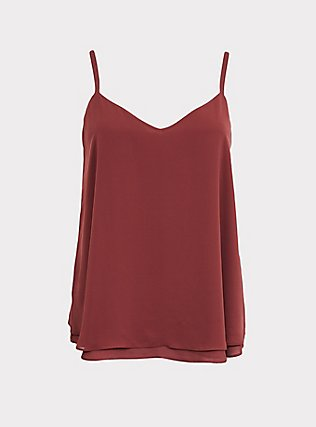 Sophie - Brick Red Chiffon Double Layer Swing Cami, PINK, flat
