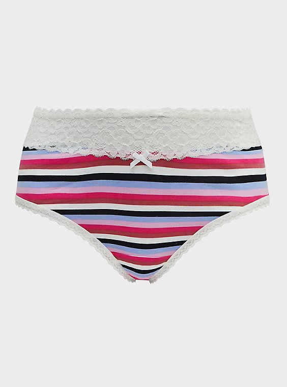 Plus Size Multi Stripe & White Wide Lace Cotton Cheeky Panty, , flat