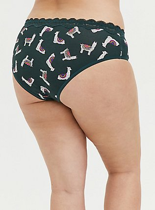 Dark Green Llama Cotton Hipster Panty, NATURE LLAMA, alternate