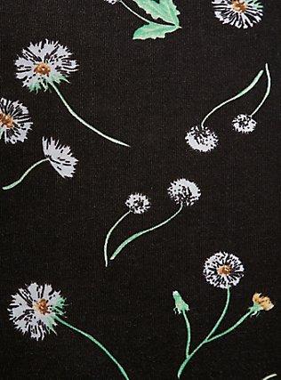Black & White Dandelion Wide Lace Cotton Cheeky Panty, DANDELION FLORAL, alternate