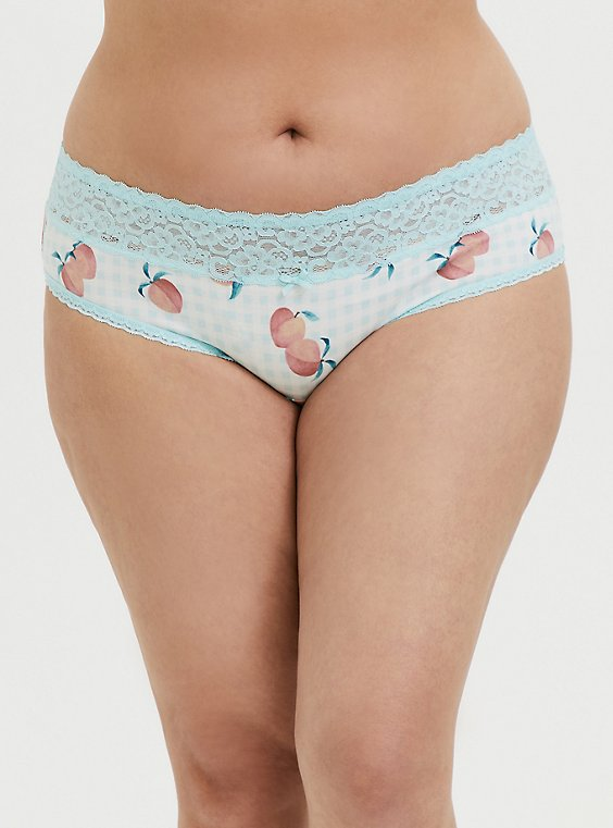 Plus Size Aqua Gingham & Peach Print Wide Lace Cotton Hipster Panty, SWEET AS A PEACH, hi-res