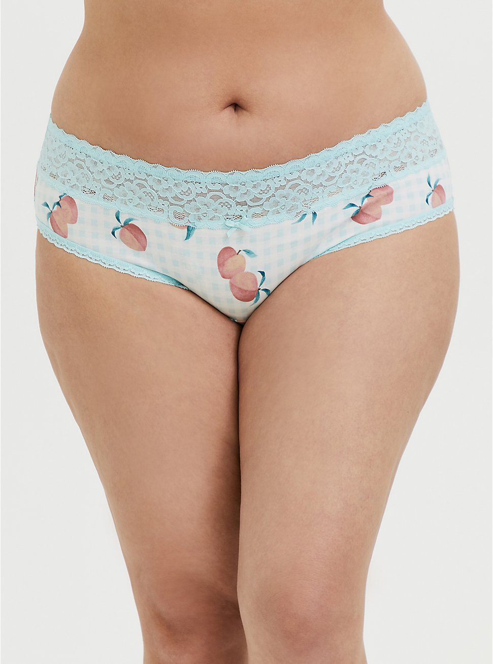 Aqua Gingham & Peach Print Wide Lace Cotton Hipster Panty, SWEET AS A PEACH, hi-res