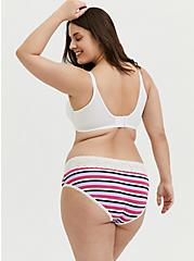 Multi Stripe & White Wide Lace Cotton Hipster Panty, PRISMATIC STRIPES, alternate