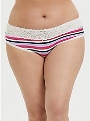Multi Stripe & White Wide Lace Cotton Hipster Panty, PRISMATIC STRIPES, hi-res