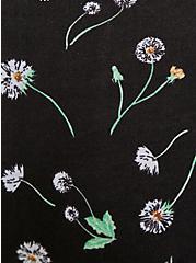 Plus Size Black Dandelion & White Wide Lace Cotton Boyshort Panty, DANDELION FLORAL, alternate