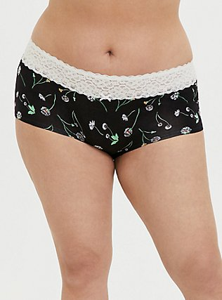 Black Dandelion & White Wide Lace Cotton Boyshort Panty, DANDELION FLORAL, hi-res