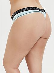 Plus Size Torrid Logo Aqua Cotton Thong Panty, CLEARWATER, alternate