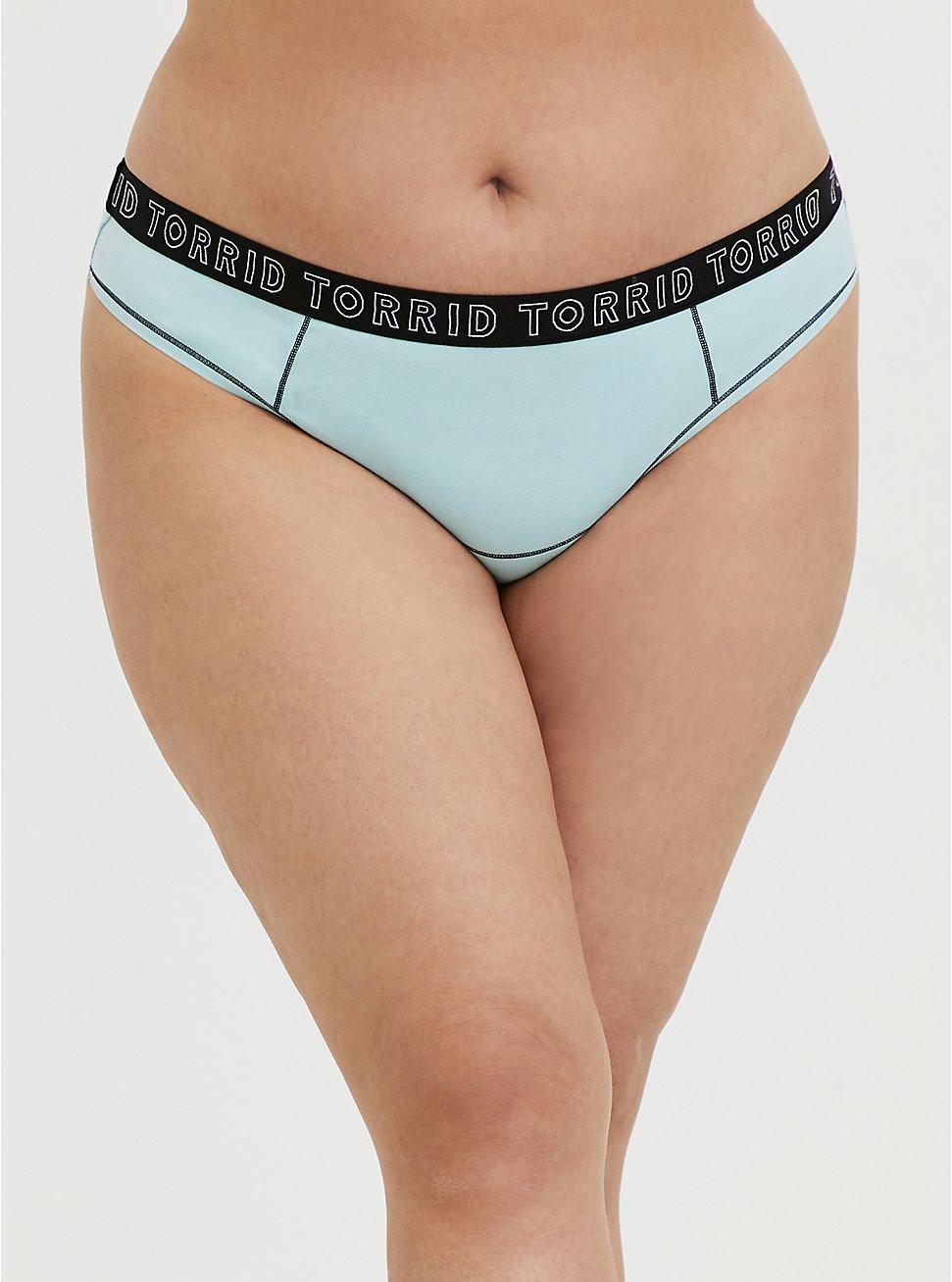 Plus Size Torrid Logo Aqua Cotton Thong Panty, CLEARWATER, hi-res