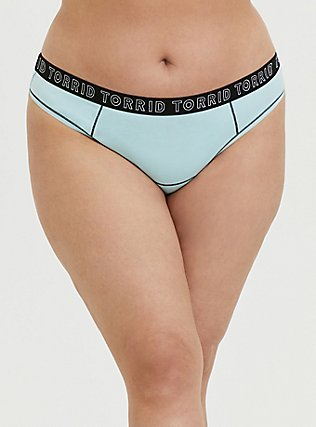 Torrid Logo Aqua Cotton Thong Panty, CLEARWATER, hi-res