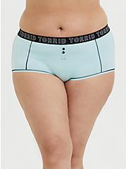 Torrid Logo Aqua Cotton Brief Panty, CLEARWATER, hi-res