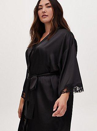 Black Satin & Lace Trim Self Tie Long Robe, RICH BLACK, alternate
