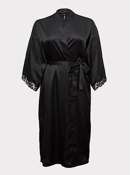 Black Satin & Lace Trim Self Tie Long Robe, RICH BLACK, hi-res