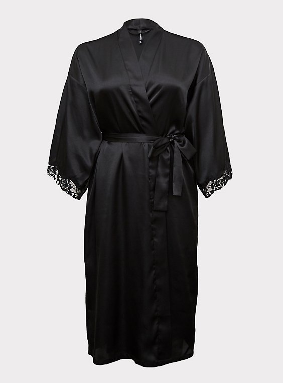 Black Satin & Lace Trim Self Tie Long Robe, , flat