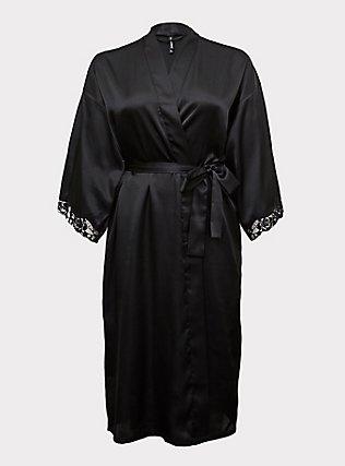 Black Satin & Lace Trim Self Tie Long Robe, RICH BLACK, flat