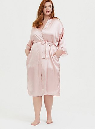 Rose Gold Satin & Lace Trim Self-Tie Robe, LOTUS, alternate