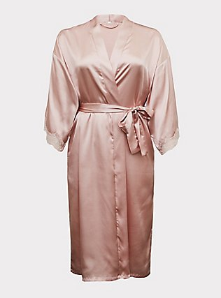 Rose Gold Satin & Lace Trim Self-Tie Robe, LOTUS, flat