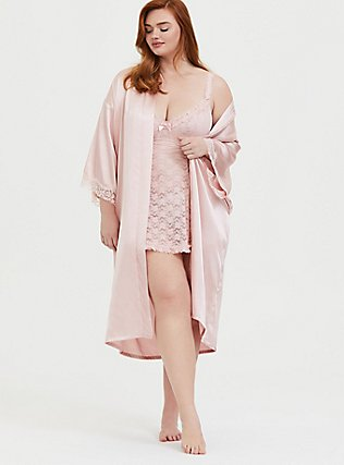 Rose Gold Satin & Lace Trim Self-Tie Robe, LOTUS, hi-res