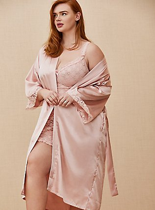 Rose Gold Satin & Lace Trim Self-Tie Robe, LOTUS, pdped