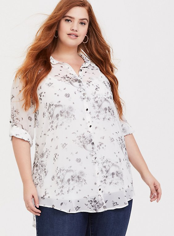 Ivory Skull Chiffon Button Front Tunic Shirt, , hi-res