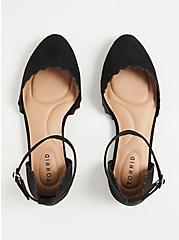 Black Faux Suede Ankle Strap Scalloped Flat (WW), BLACK, alternate