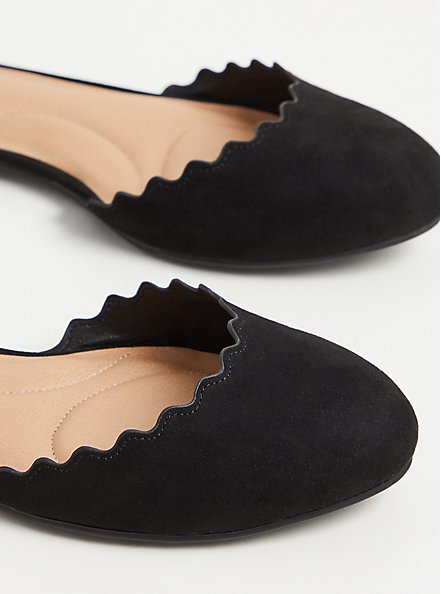 Plus Size Black Faux Suede Ankle Strap Scalloped Flat (WW), BLACK, alternate