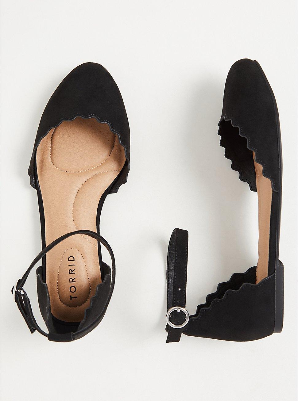 Black Faux Suede Ankle Strap Scalloped Flat (WW), BLACK, hi-res