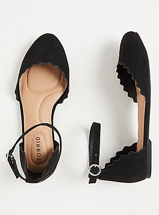 Black Faux Suede Ankle Strap Scalloped Flat (WW), BLACK, hi-res