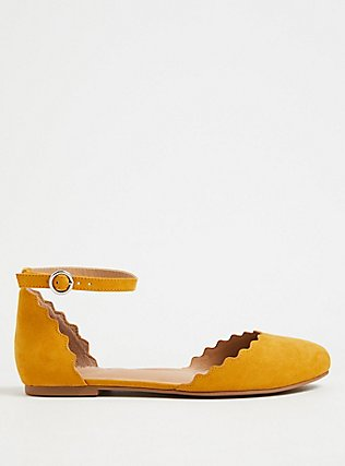 Mustard Yellow Faux Suede Ankle Strap Scalloped Flat (WW), YELLOW, alternate