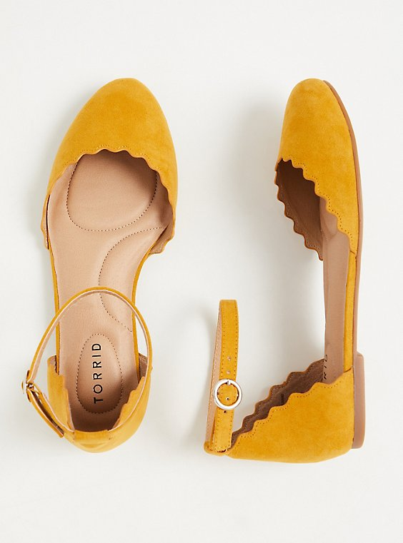 Mustard Yellow Faux Suede Ankle Strap Scalloped Flat (WW), , hi-res