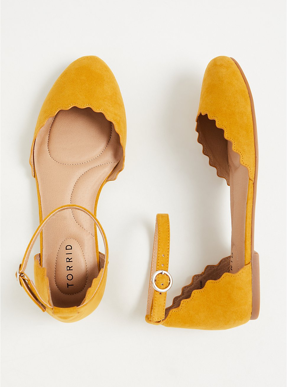 Mustard Yellow Faux Suede Ankle Strap Scalloped Flat (WW), YELLOW, hi-res