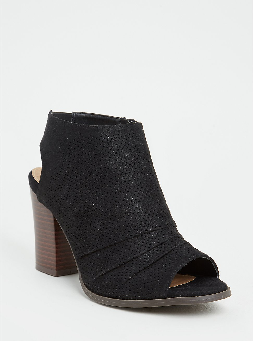 Black Faux Suede Perforated Slouch Heel Bootie (WW), BLACK, hi-res