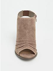 Taupe Faux Suede Perforated Slouch Heel Shootie (WW), , alternate