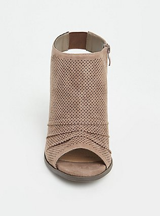 Taupe Faux Suede Perforated Slouch Heel Bootie (WW), TAN/BEIGE, alternate