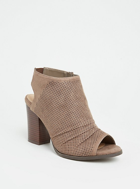 Plus Size Taupe Faux Suede Perforated Slouch Heel Shootie (WW), , hi-res