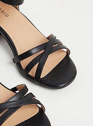 Black Faux Leather Strappy Block Heel (WW), BLACK, alternate