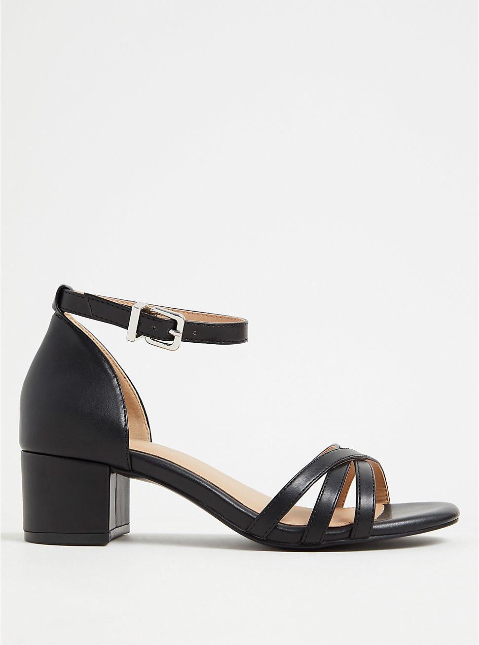 Black Faux Leather Strappy Block Heel (WW), BLACK, hi-res