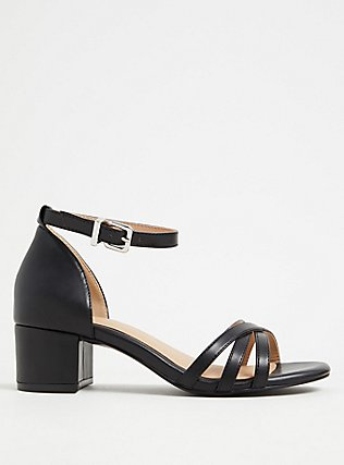 Black Faux Leather Strappy Block Heel (WW), BLACK, hi-res