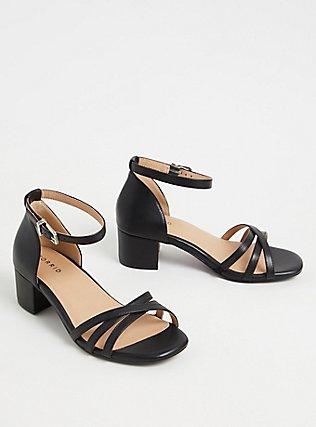 Black Faux Leather Strappy Block Heel (WW), BLACK, ls
