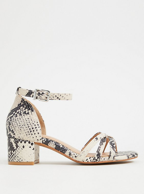Snakeskin Print Faux Leather Strappy Block Heel (WW), , hi-res