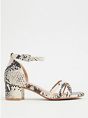 Plus Size Snakeskin Print Faux Leather Strappy Block Heel (WW), ANIMAL, hi-res