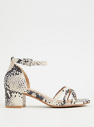 Snakeskin Print Faux Leather Strappy Block Heel (WW), ANIMAL, hi-res