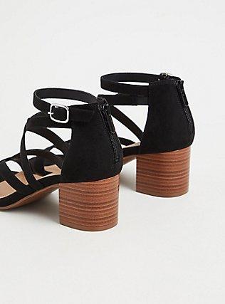 Black Faux Suede Strappy Block Heel Sandal (WW), BLACK, alternate