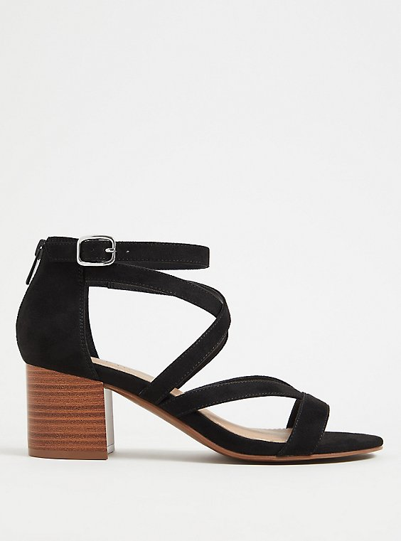 Plus Size Black Faux Suede Strappy Block Heel Sandal (WW), , hi-res