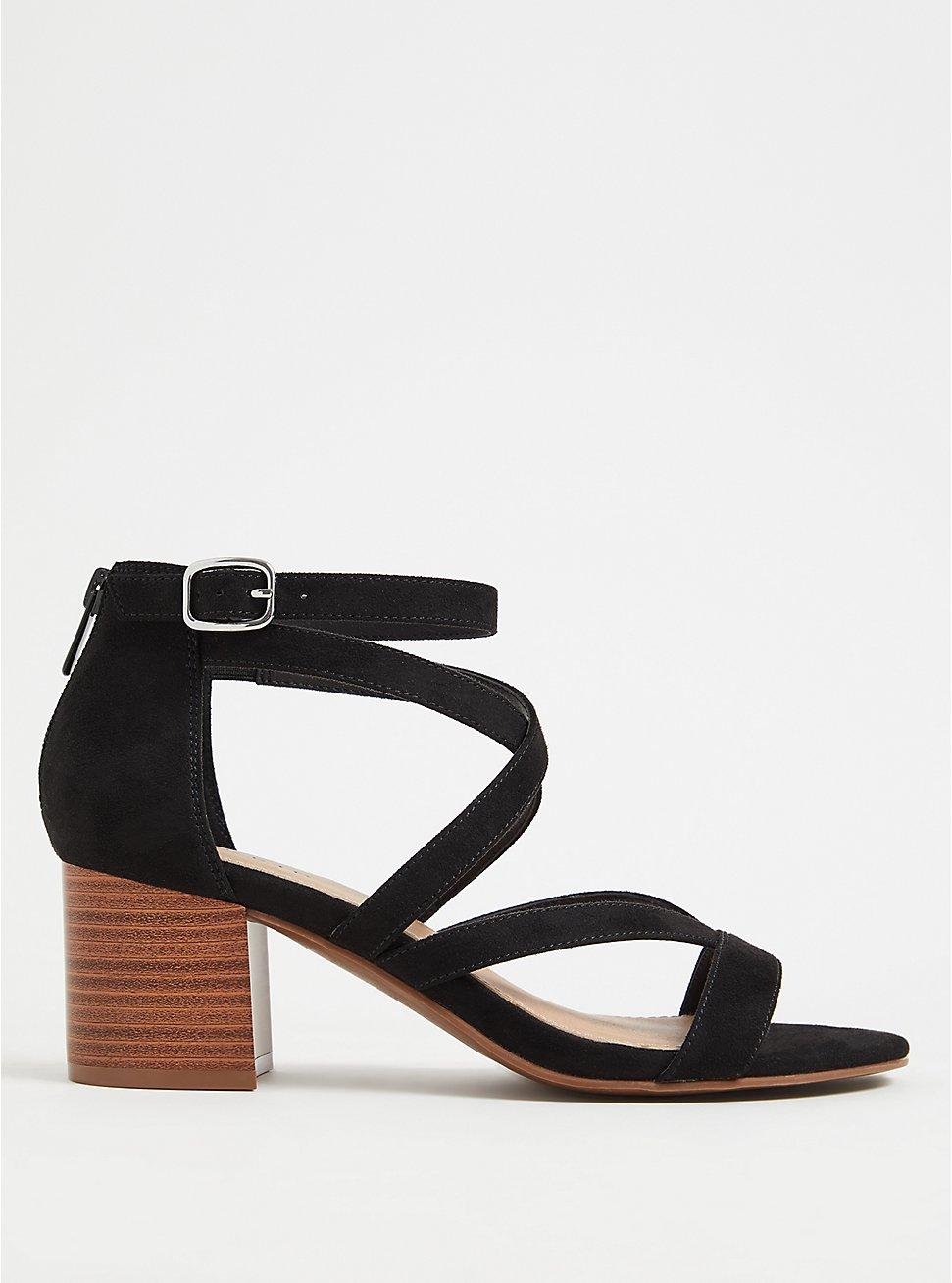 Black Faux Suede Strappy Block Heel Sandal (WW), BLACK, hi-res