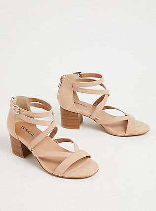 Nude Faux Suede Strappy Block Heel Sandal (WW), NUDE, alternate