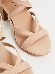 Plus Size Beige Faux Suede Strappy Block Heel Sandal (WW), , alternate