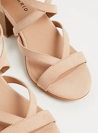 Nude Faux Suede Strappy Block Heel Sandal (WW), NUDE, alternate